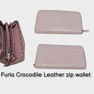 Furla Crocodile Leather zip wallet clutch